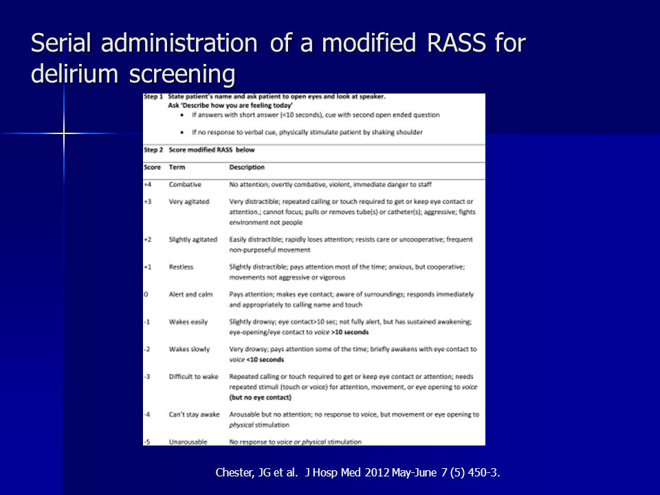 Serial administration of a modified RASS for delirium screening Chester, JG et al.