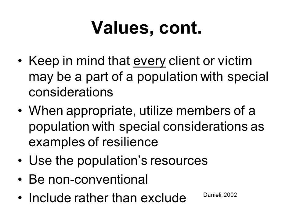 Values, cont.