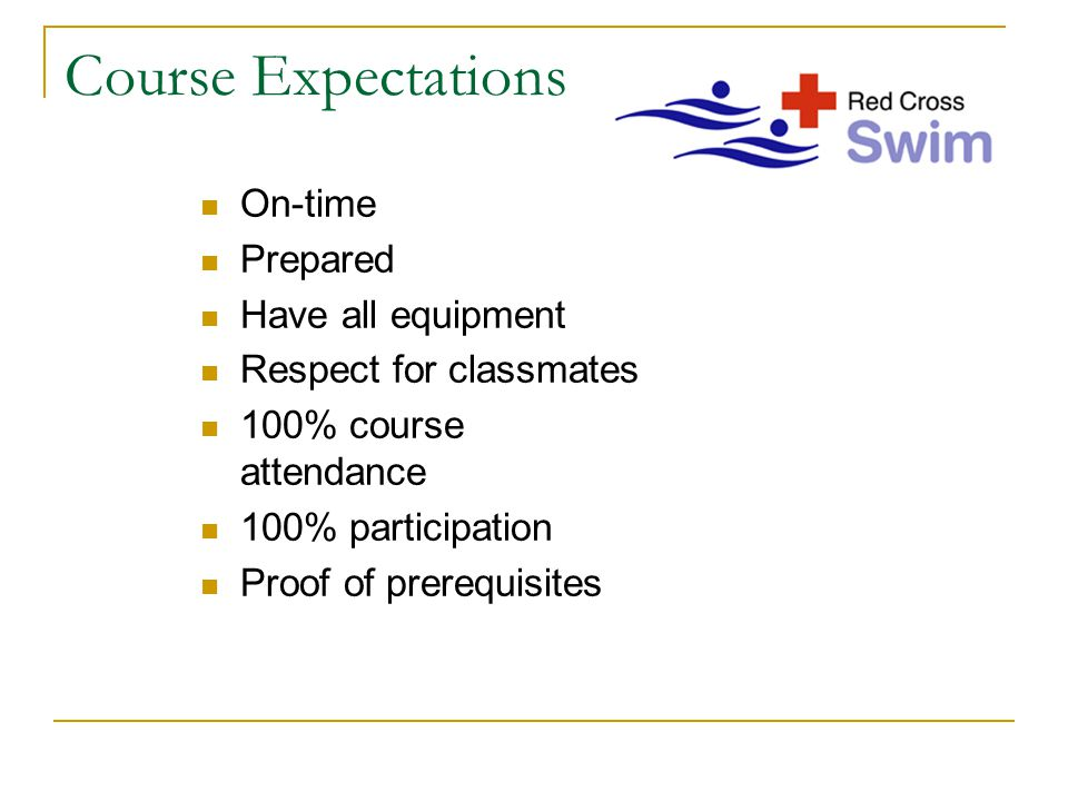 Course Expectations On-time Prepared Have all equipment Respect for classmates 100% course attendance 100% participation Proof of prerequisites
