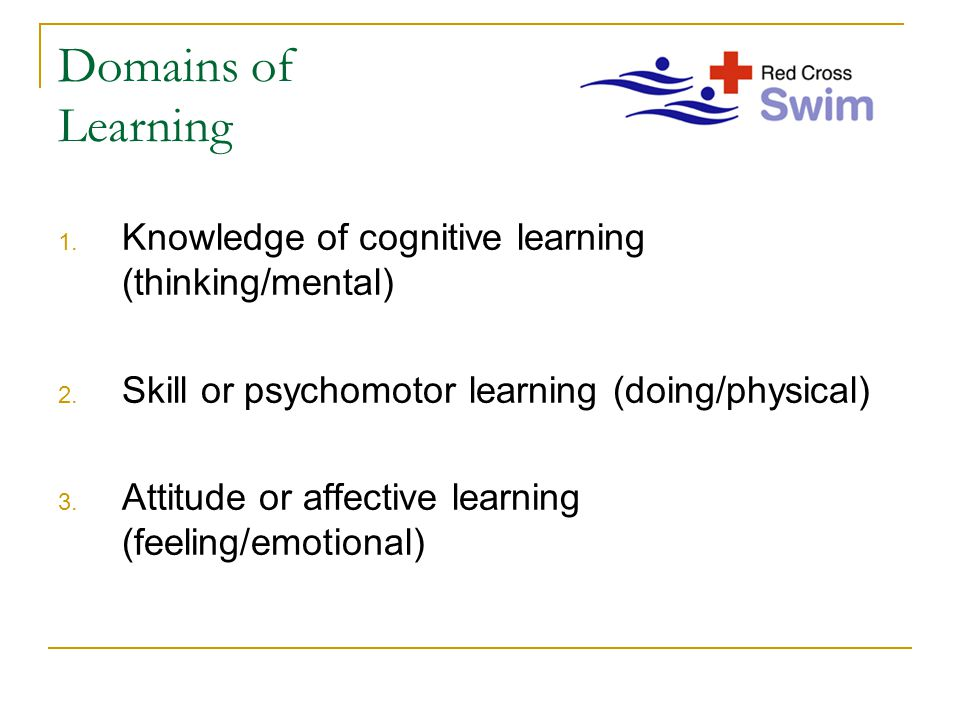 Domains of Learning 1. Knowledge of cognitive learning (thinking/mental) 2. Skill or psychomotor learning (doing/physical) 3. Attitude or affective le