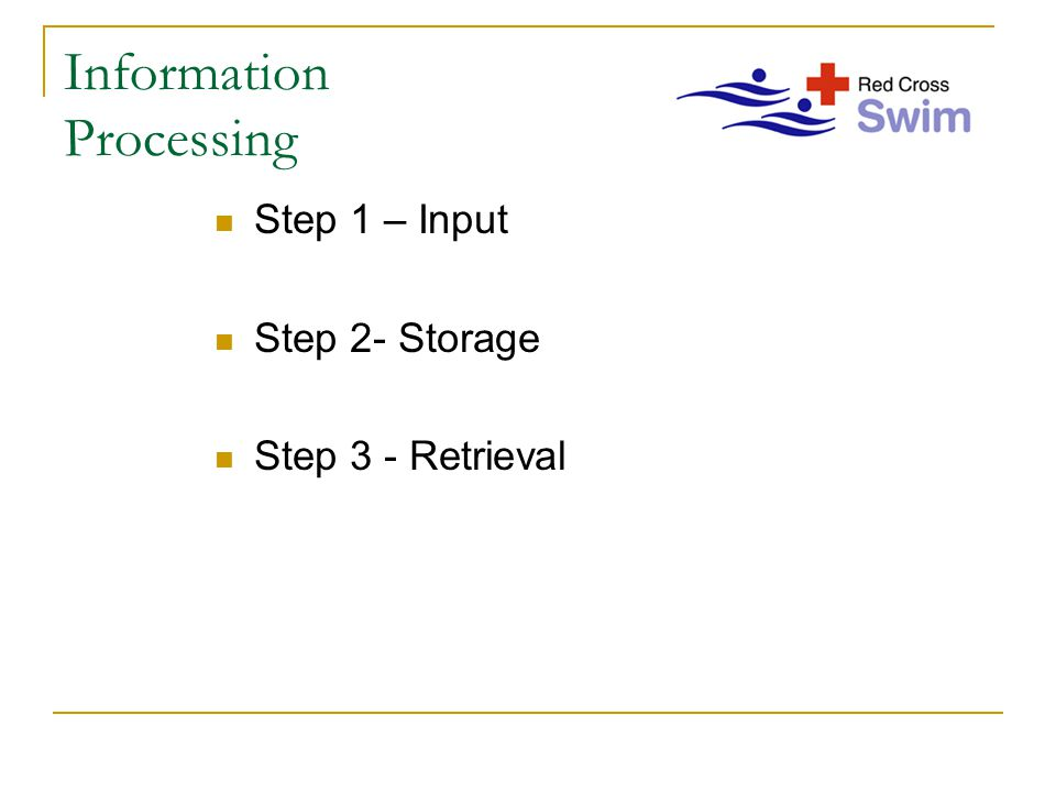 Information Processing Step 1 – Input Step 2- Storage Step 3 - Retrieval