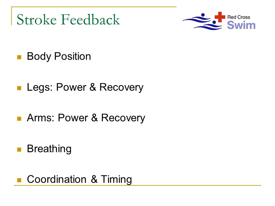 Stroke Feedback Body Position Legs: Power & Recovery Arms: Power & Recovery Breathing Coordination & Timing