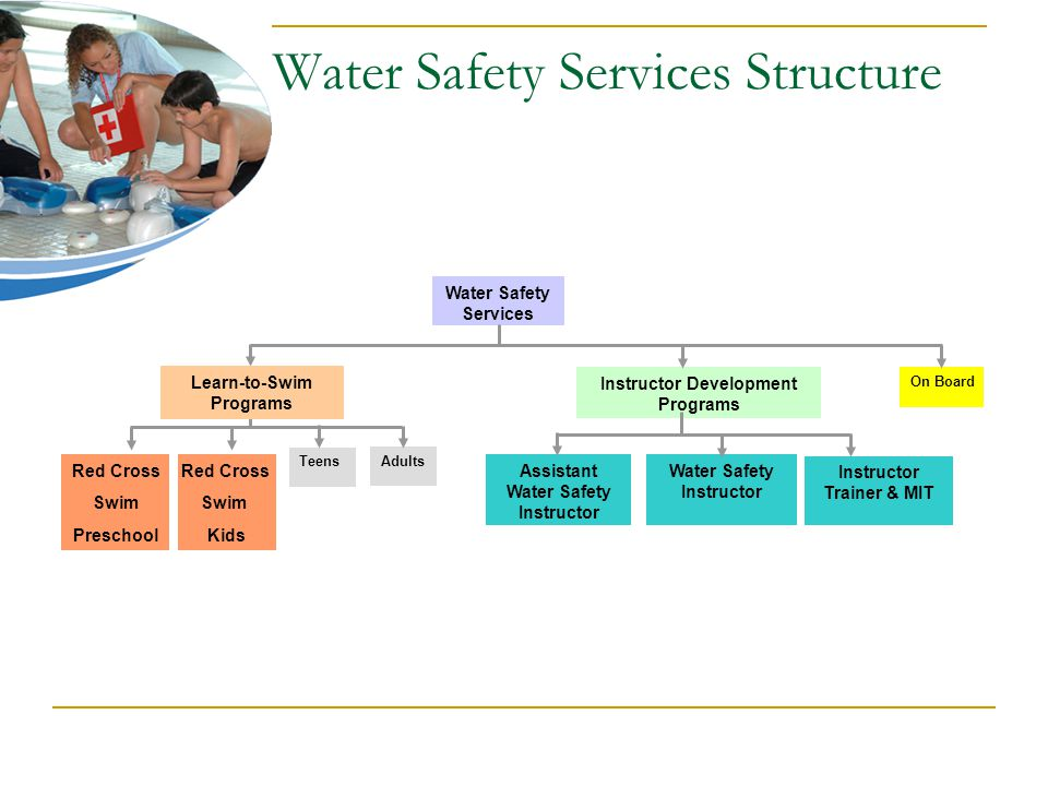 Water Safety Services Structure Red Cross Swim Preschool Red Cross Swim Kids Teens Instructor Development Programs Assistant Water Safety Instructor Water Safety Instructor On Board Water Safety Services Learn-to-Swim Programs Adults Instructor Trainer & MIT