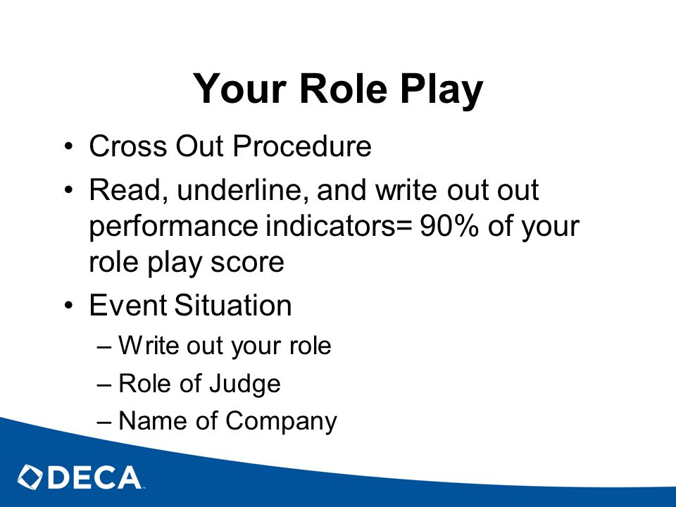 Your Role Play Cross Out Procedure Read, underline, and write out out performance indicators= 90% of your role play score Event Situation –Write out your role –Role of Judge –Name of Company