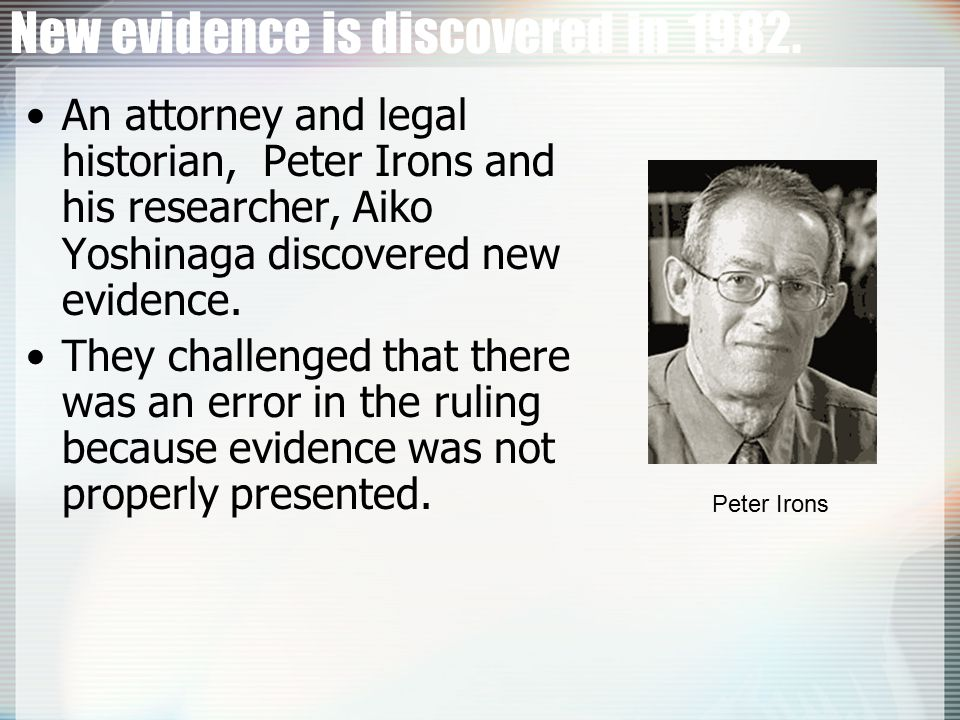 New evidence is discovered in 1982.