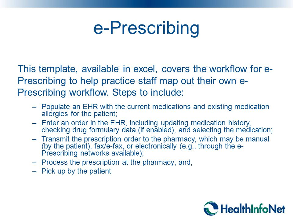 e-Prescribing This template, available in excel, covers the workflow for e- Prescribing to help practice staff map out their own e- Prescribing workfl