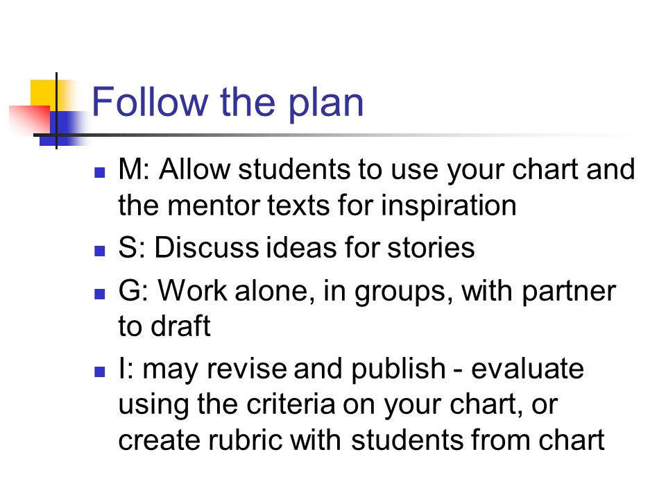 Follow the plan M: Allow students to use your chart and the mentor texts for inspiration S: Discuss ideas for stories G: Work alone, in groups, with partner to draft I: may revise and publish - evaluate using the criteria on your chart, or create rubric with students from chart