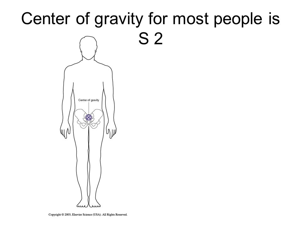 Center of gravity for most people is S 2