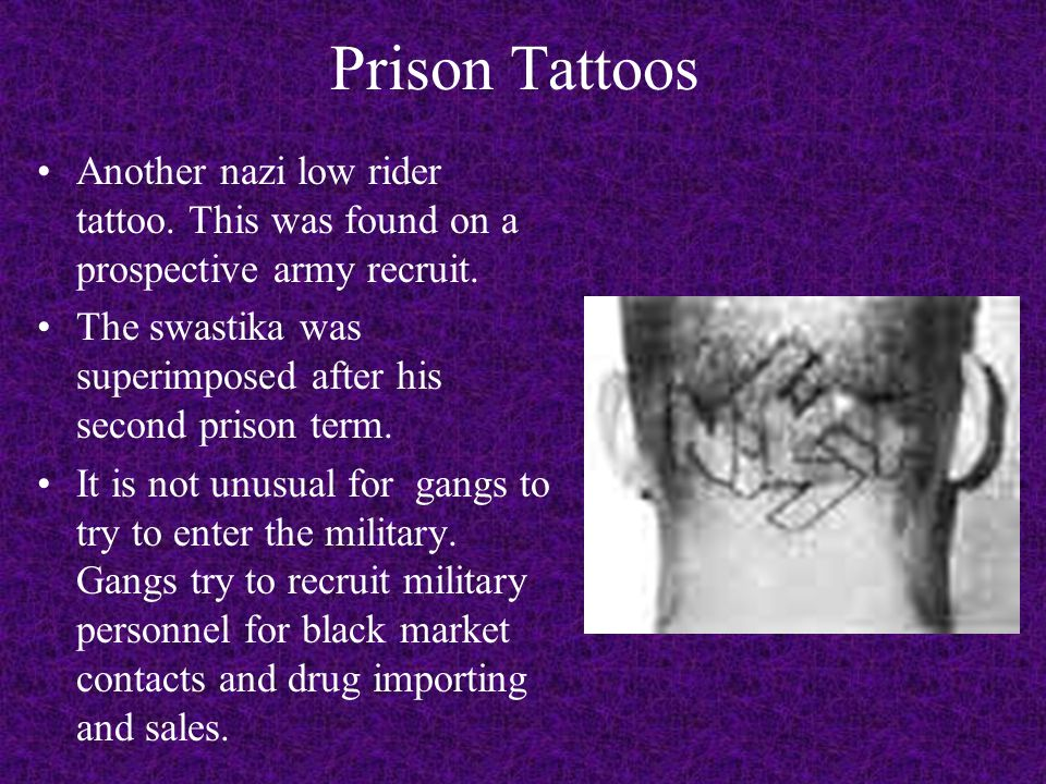 Prison Tattoos Another nazi low rider tattoo.This was found on a prospective army recruit.