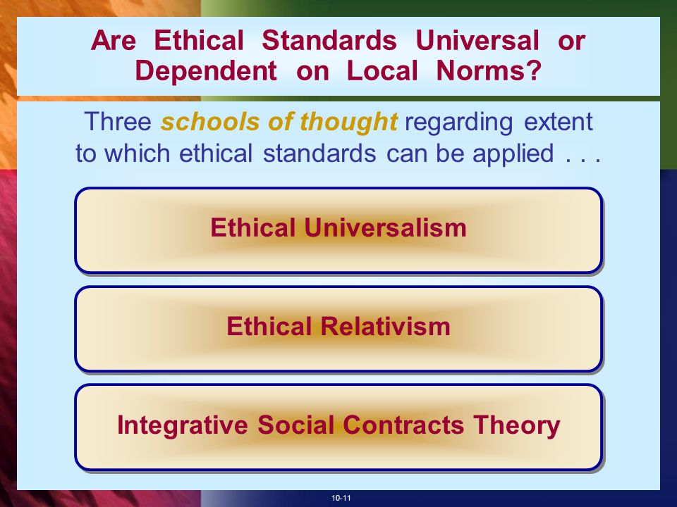 10-11 Are Ethical Standards Universal or Dependent on Local Norms? Three schools of thought regarding extent to which ethical standards can be applied