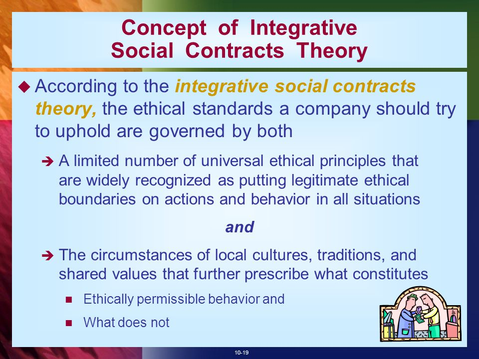 10-19 Concept of Integrative Social Contracts Theory  According to the integrative social contracts theory, the ethical standards a company should tr