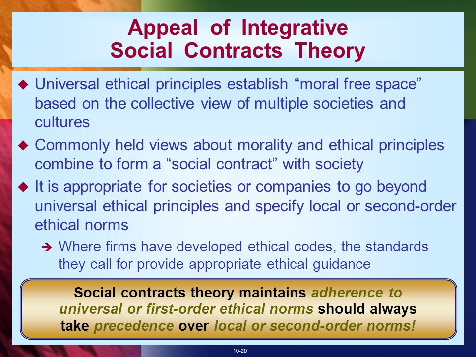 10-20 Appeal of Integrative Social Contracts Theory  Universal ethical principles establish moral free space based on the collective view of multiple societies and cultures  Commonly held views about morality and ethical principles combine to form a social contract with society  It is appropriate for societies or companies to go beyond universal ethical principles and specify local or second-order ethical norms  Where firms have developed ethical codes, the standards they call for provide appropriate ethical guidance Social contracts theory maintains adherence to universal or first-order ethical norms should always take precedence over local or second-order norms!