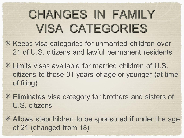 CHANGES IN FAMILY VISA CATEGORIES Keeps visa categories for unmarried children over 21 of U.S.
