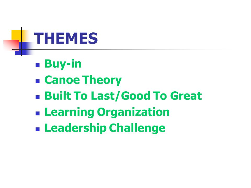 THEMES Buy-in Canoe Theory Built To Last/Good To Great Learning Organization Leadership Challenge