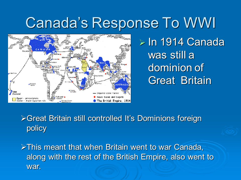 Canada's Response To WWI  In 1914 Canada was still a dominion of Great Britain  Great Britain still controlled It's Dominions foreign policy  This meant that when Britain went to war Canada, along with the rest of the British Empire, also went to war.