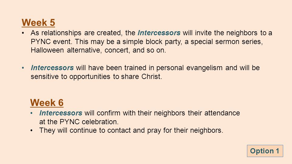 Week 6 Intercessors will confirm with their neighbors their attendance at the PYNC celebration.