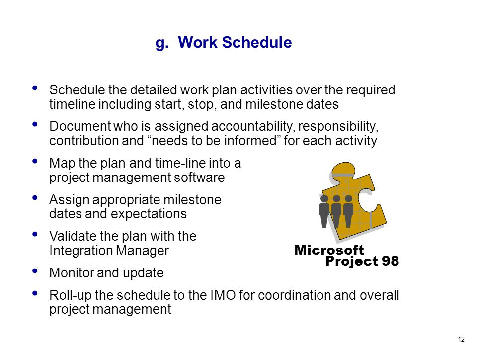 12 Schedule the detailed work plan activities over the required timeline including start, stop, and milestone dates Document who is assigned accountability, responsibility, contribution and needs to be informed for each activity Map the plan and time-line into a project management software Assign appropriate milestone dates and expectations Validate the plan with the Integration Manager Monitor and update Roll-up the schedule to the IMO for coordination and overall project management 1 789 Microsoft Project 98 g.