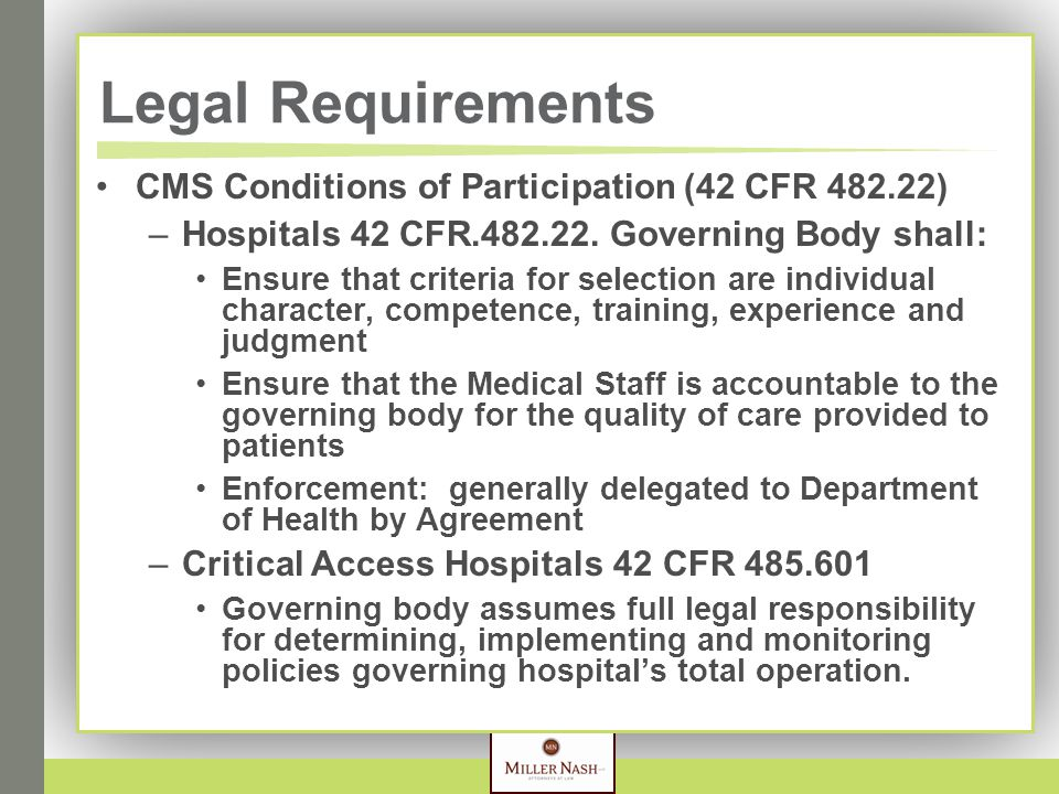 Legal Requirements CMS Conditions of Participation (42 CFR 482.22) –Hospitals 42 CFR.482.22.