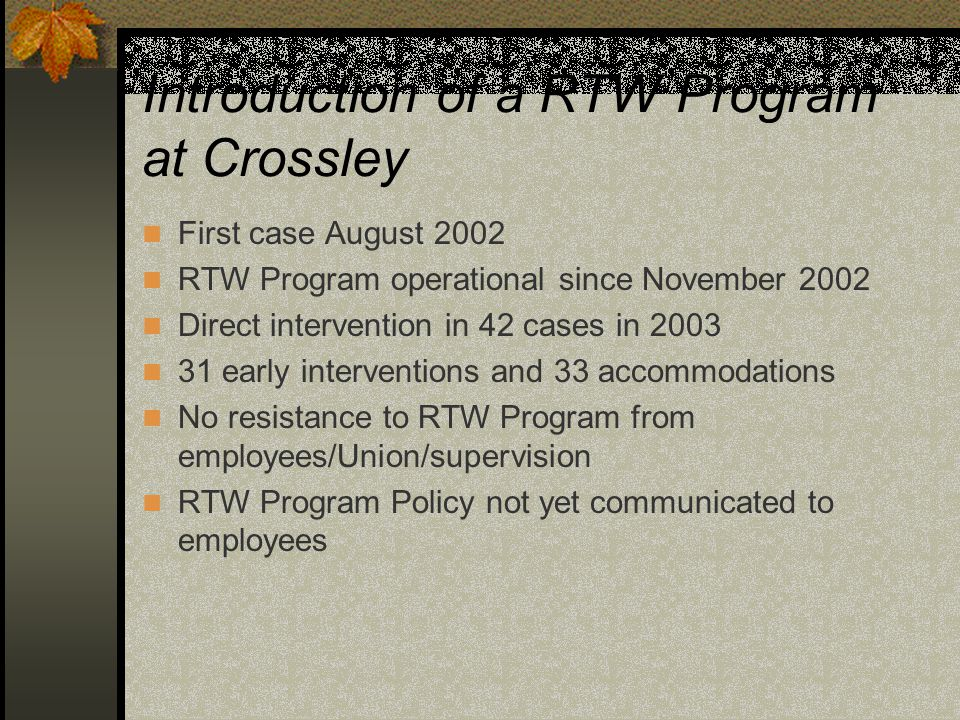 Introduction of a RTW Program at Crossley First case August 2002 RTW Program operational since November 2002 Direct intervention in 42 cases in 2003 3