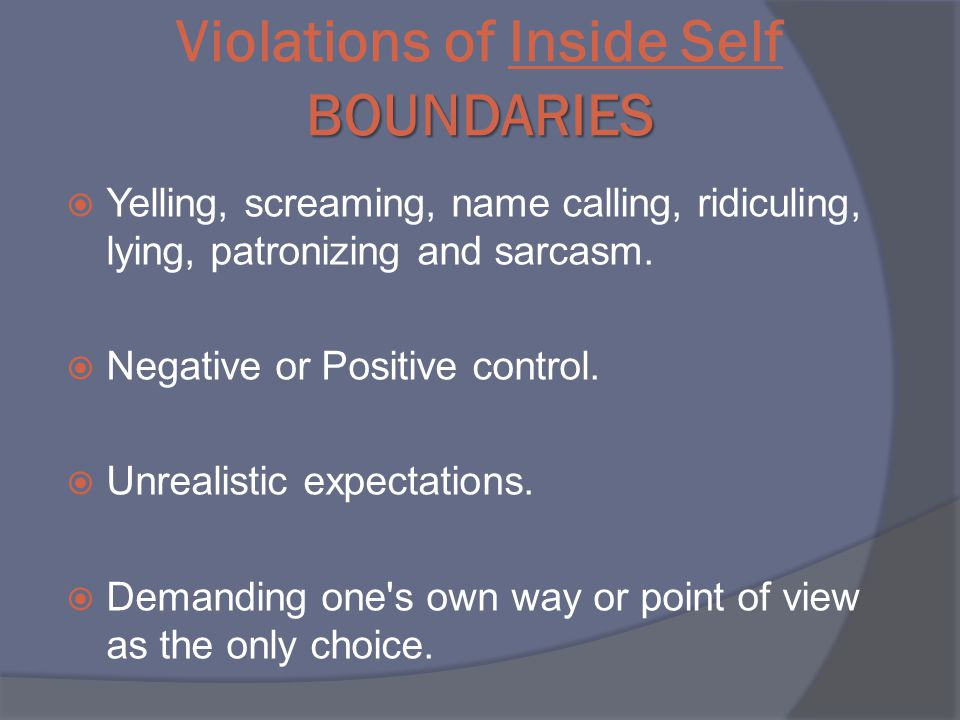 BOUNDARIES Violations of Inside Self BOUNDARIES  Yelling, screaming, name calling, ridiculing, lying, patronizing and sarcasm.