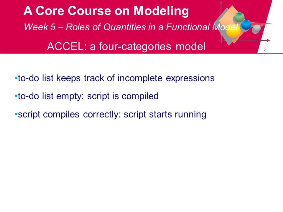 2 A Core Course on Modeling to-do list keeps track of incomplete expressions to-do list empty: script is compiled script compiles correctly: script starts running Week 5 – Roles of Quantities in a Functional Model ACCEL: a four-categories model