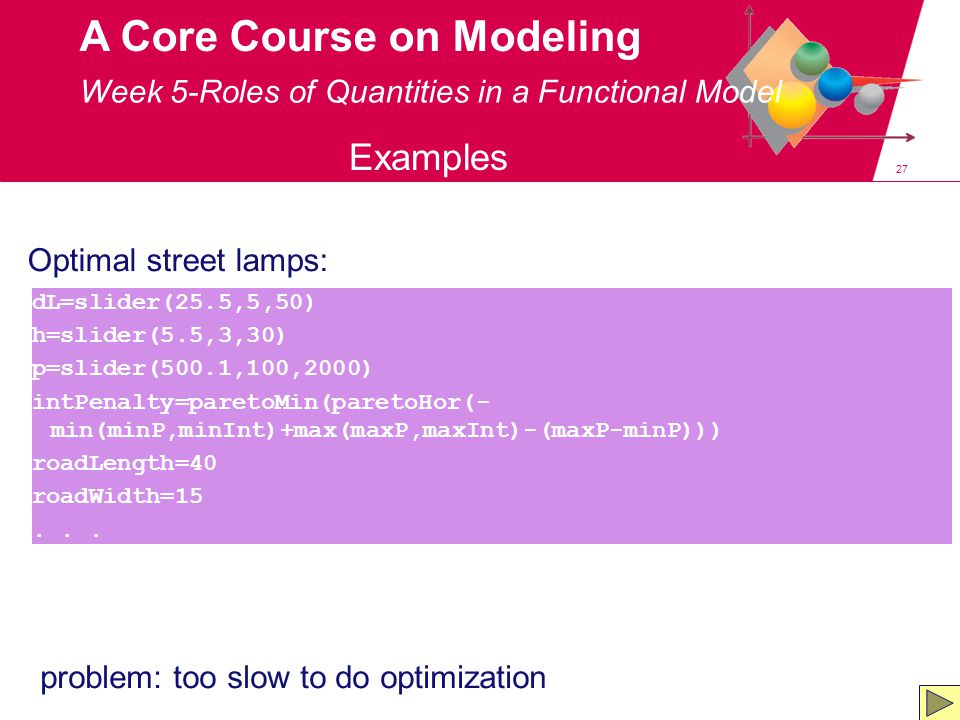 27 A Core Course on Modeling Week 5-Roles of Quantities in a Functional Model Examples Optimal street lamps: dL=slider(25.5,5,50) h=slider(5.5,3,30) p=slider(500.1,100,2000) intPenalty=paretoMin(paretoHor(- min(minP,minInt)+max(maxP,maxInt)-(maxP-minP))) roadLength=40 roadWidth=15...