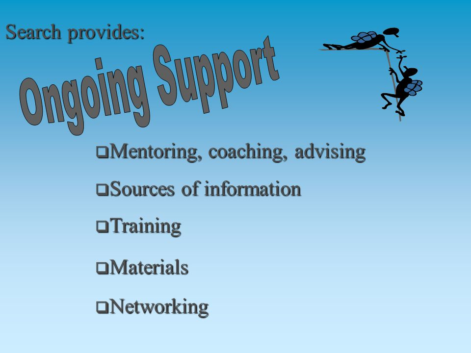  Mentoring, coaching, advising  Sources of information  Networking  Training  Materials Search provides: