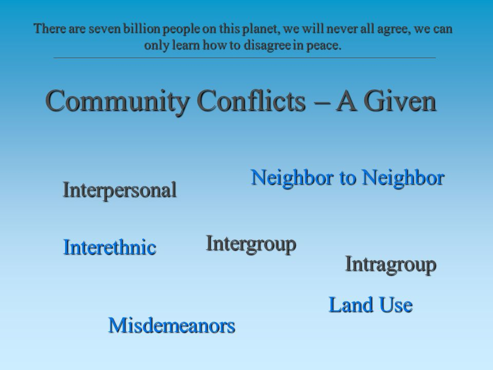 Community Conflicts – A Given Interpersonal Intergroup Intragroup Neighbor to Neighbor Interethnic Land Use Misdemeanors There are seven billion people on this planet, we will never all agree, we can only learn how to disagree in peace.