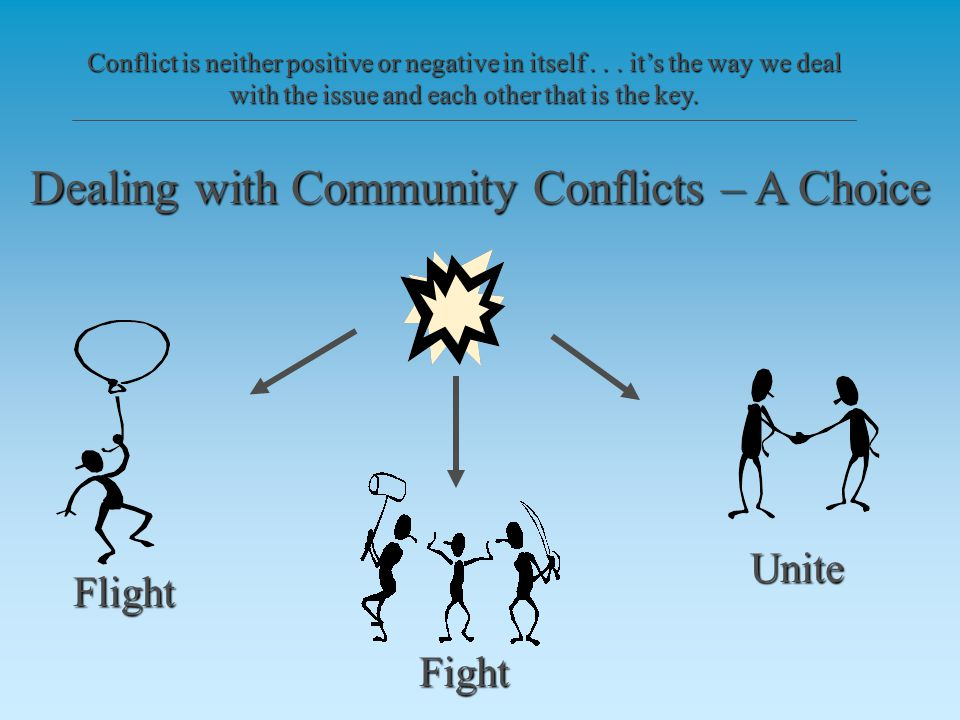Flight Fight Unite When in conflict, we can either try to be the winner or look at how can we work this out together.