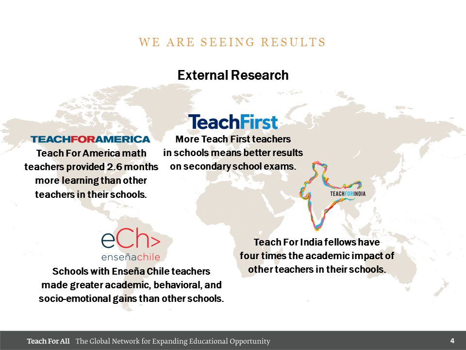 4 External Research WE ARE SEEING RESULTS More Teach First teachers in schools means better results on secondary school exams.