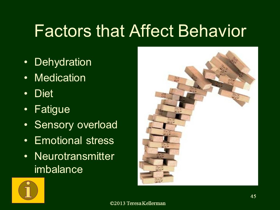 ©2013 Teresa Kellerman 45 Factors that Affect Behavior Dehydration Medication Diet Fatigue Sensory overload Emotional stress Neurotransmitter imbalance