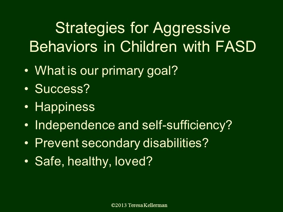 ©2013 Teresa Kellerman Strategies for Aggressive Behaviors in Children with FASD What is our primary goal.