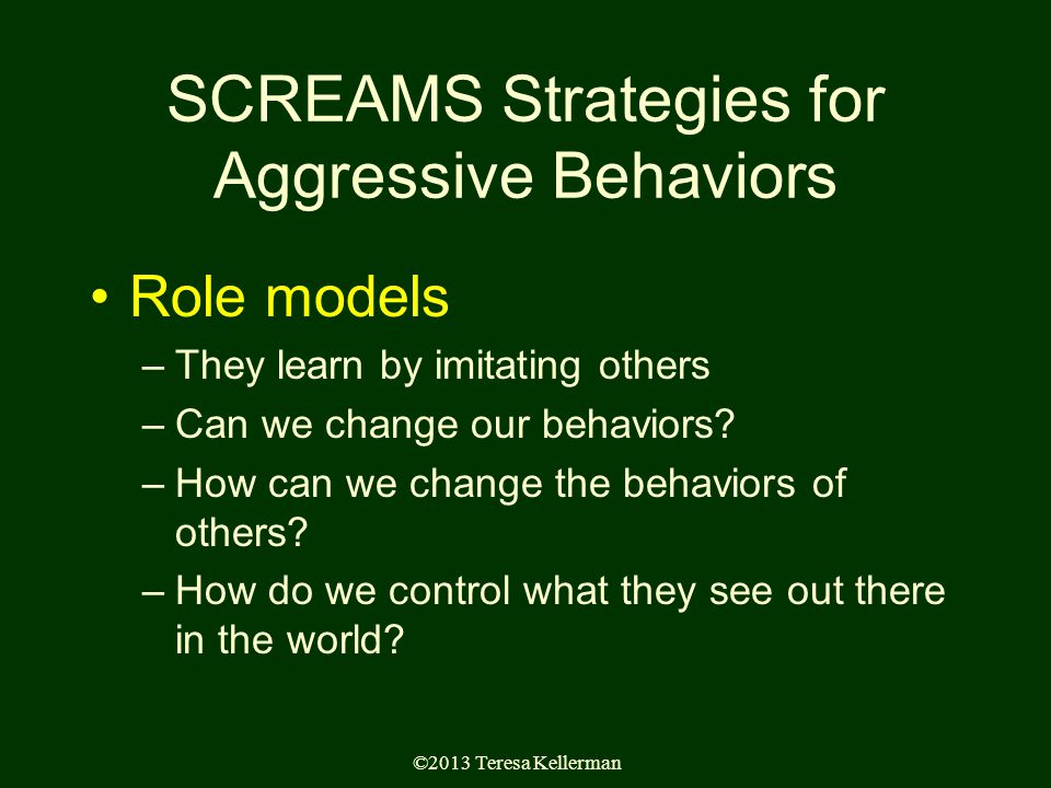 ©2013 Teresa Kellerman SCREAMS Strategies for Aggressive Behaviors Role models –They learn by imitating others –Can we change our behaviors.