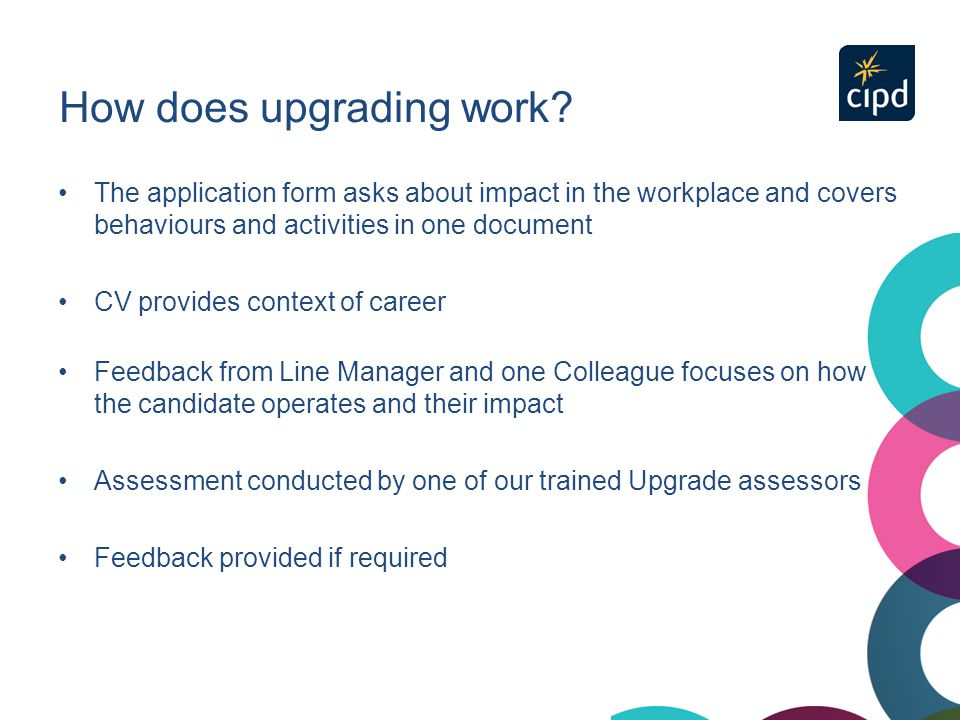 How does upgrading work? The application form asks about impact in the workplace and covers behaviours and activities in one document CV provides cont