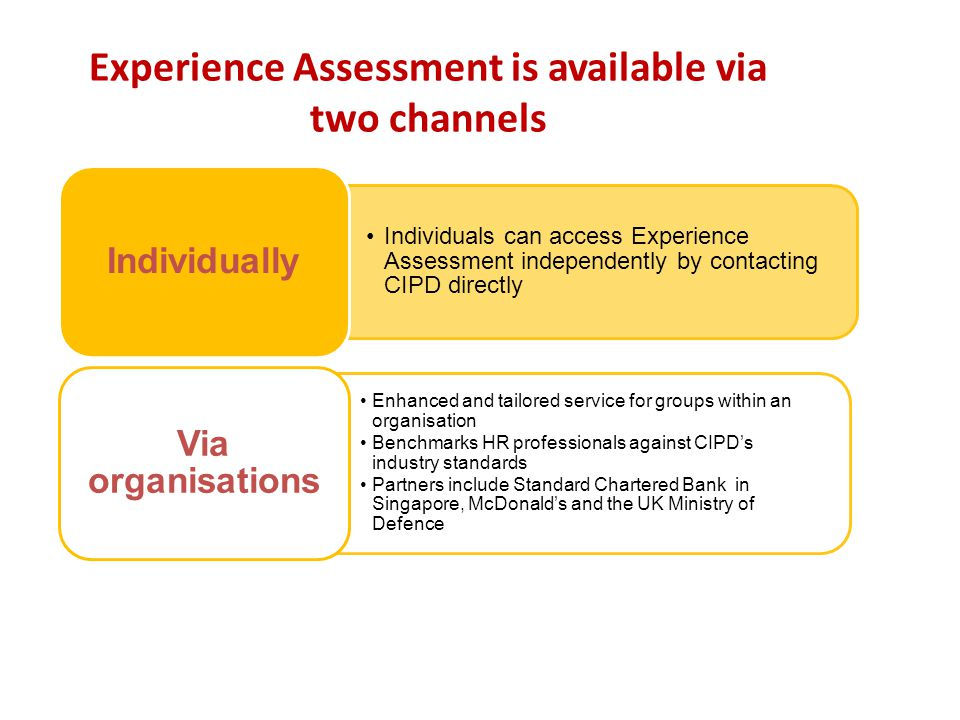 Experience Assessment is available via two channels