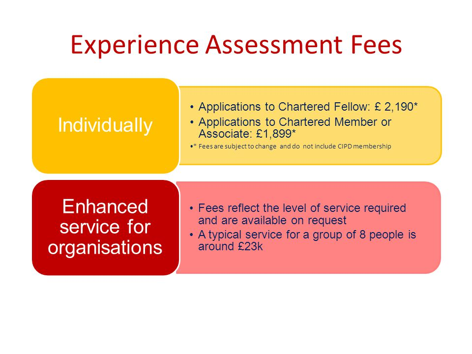 Experience Assessment Fees