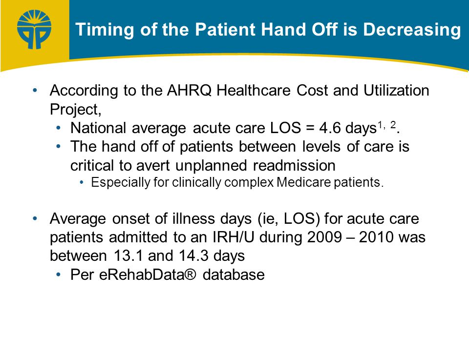 Timing of the Patient Hand Off is Decreasing According to the AHRQ Healthcare Cost and Utilization Project, National average acute care LOS = 4.6 days 1, 2.