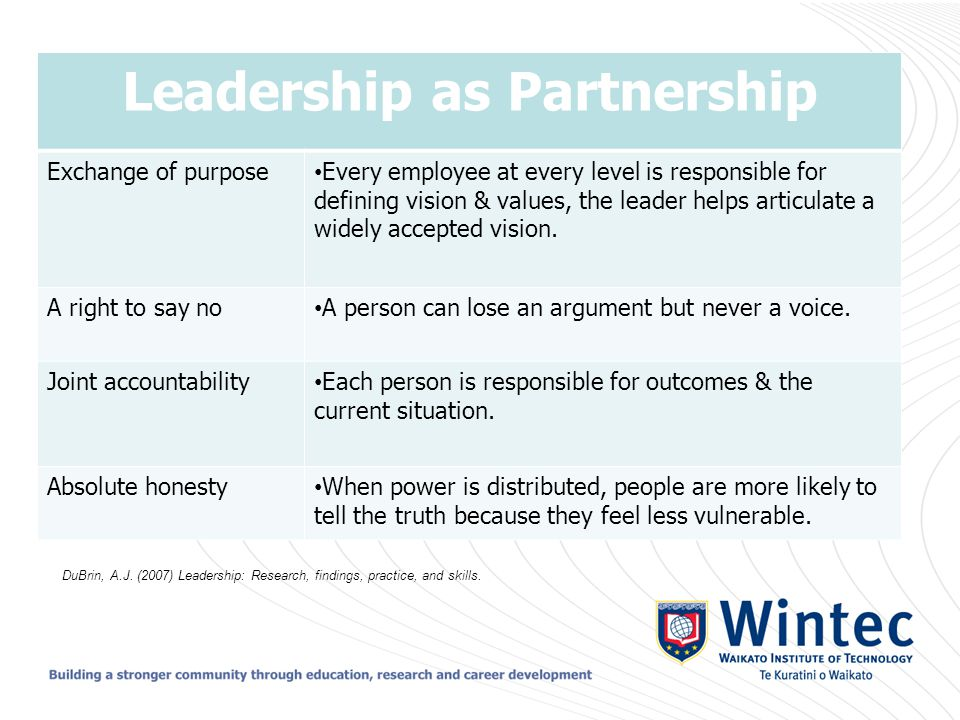 Leadership as Partnership Exchange of purpose Every employee at every level is responsible for defining vision & values, the leader helps articulate a