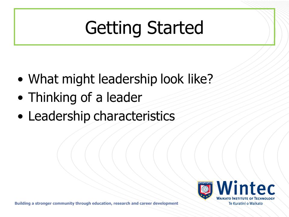 Getting Started What might leadership look like? Thinking of a leader Leadership characteristics