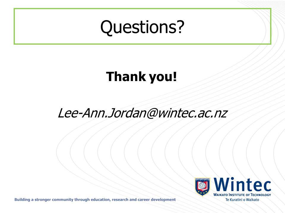 Questions Thank you! Lee-Ann.Jordan@wintec.ac.nz