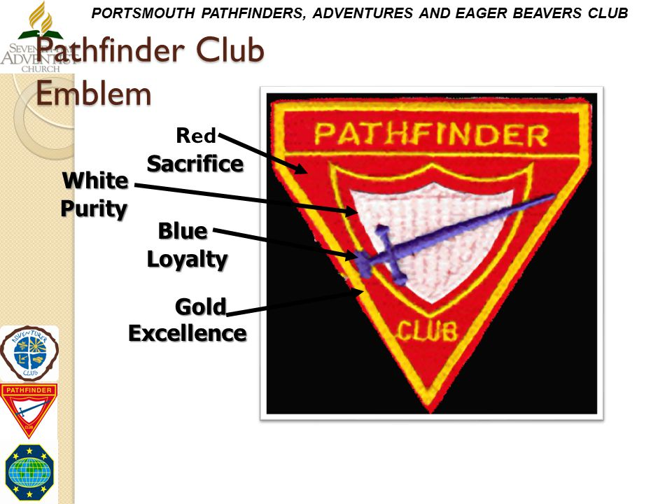 Pathfinder Club Emblem Red White Blue Gold Sacrifice Purity Loyalty Excellence