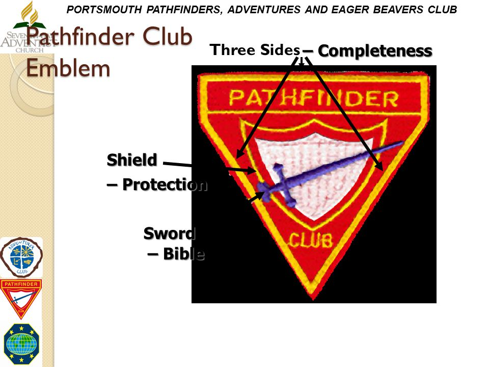 PORTSMOUTH PATHFINDERS, ADVENTURES AND EAGER BEAVERS CLUB Pathfinder Club Emblem Three Sides Shield Sword – Completeness – Protection – Bible