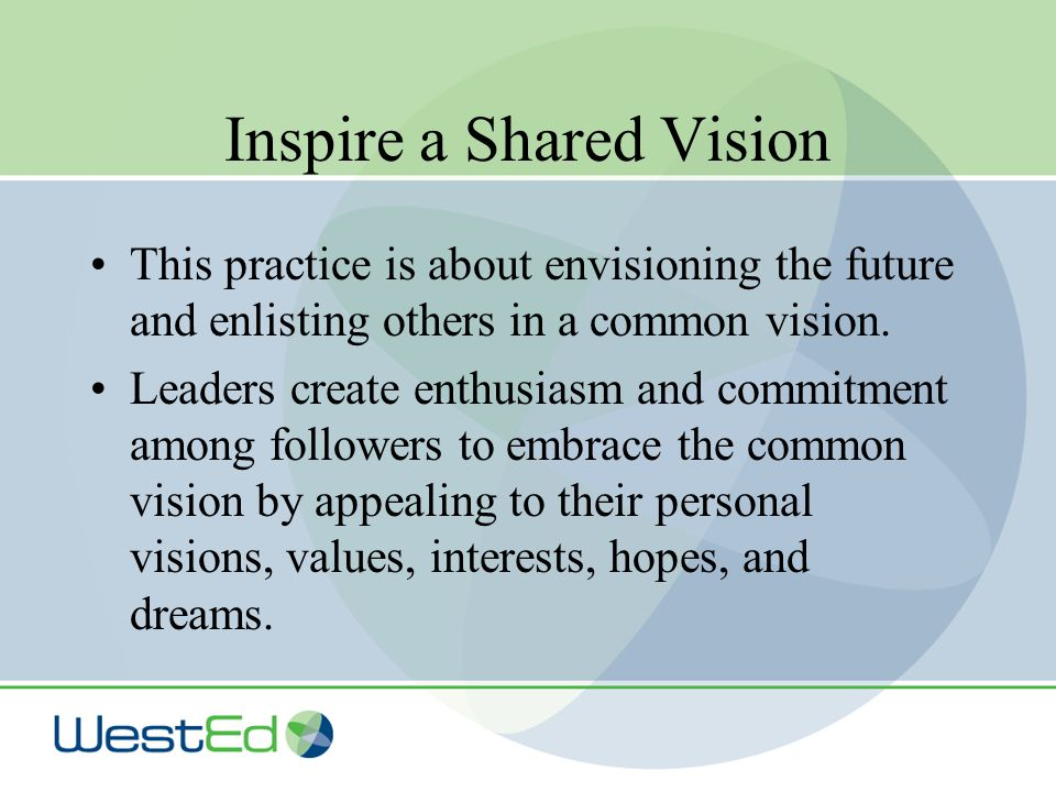 Inspire a Shared Vision This practice is about envisioning the future and enlisting others in a common vision.