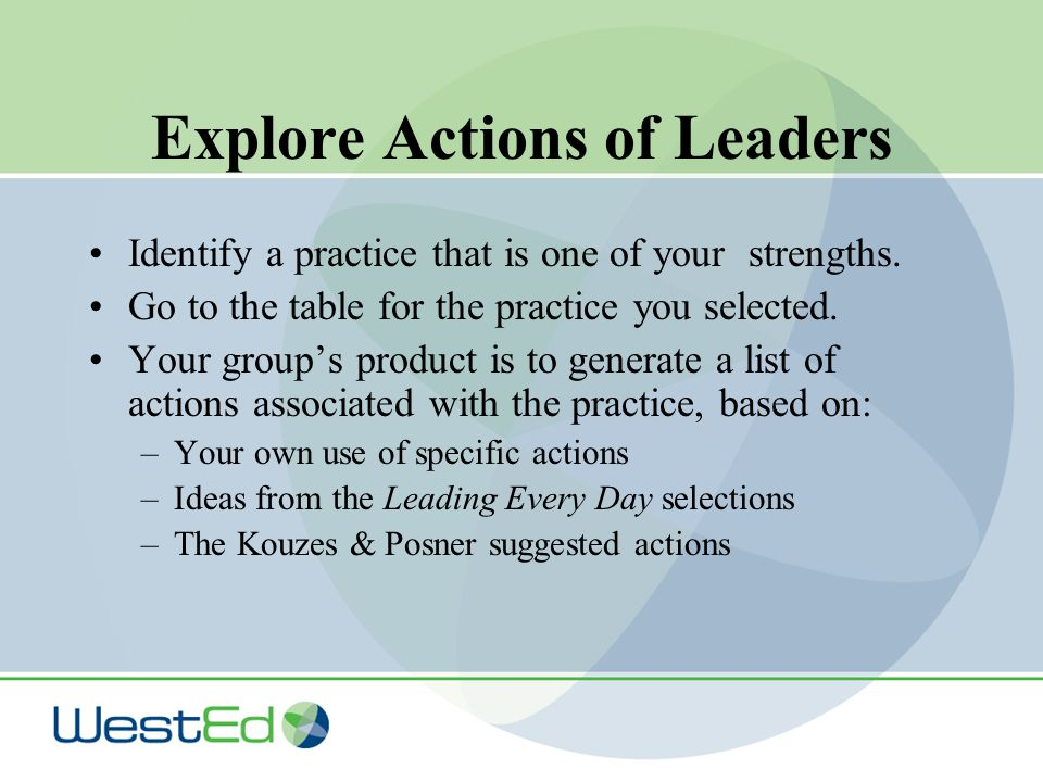 Explore Actions of Leaders Identify a practice that is one of your strengths.