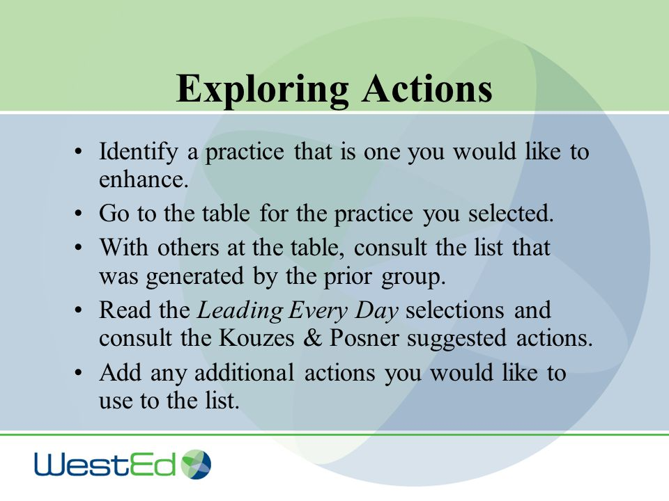 Exploring Actions Identify a practice that is one you would like to enhance.