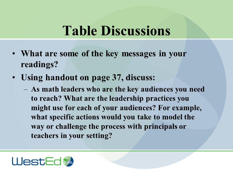 Table Discussions What are some of the key messages in your readings.