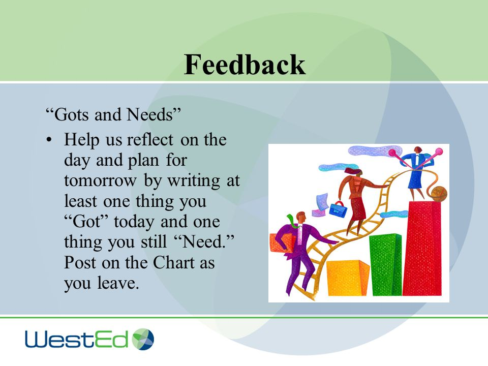 Feedback Gots and Needs Help us reflect on the day and plan for tomorrow by writing at least one thing you Got today and one thing you still Need. Post on the Chart as you leave.