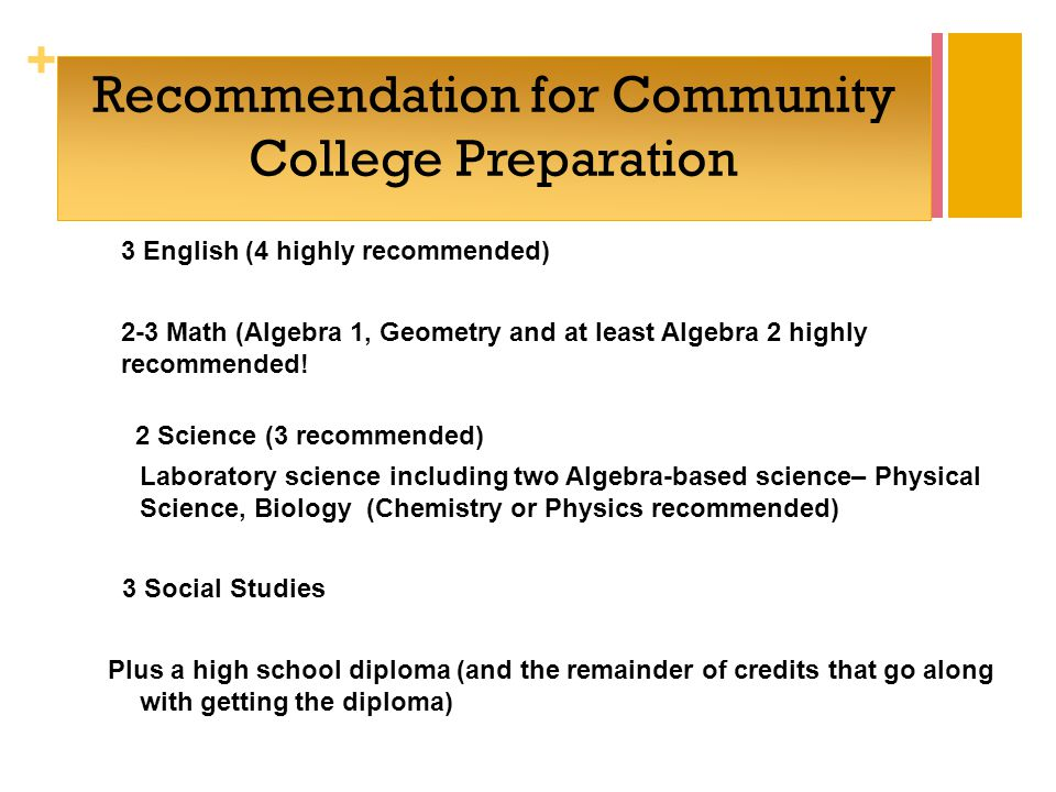 + Recommendation for Community College Preparation 3 English (4 highly recommended) 2-3 Math (Algebra 1, Geometry and at least Algebra 2 highly recommended.