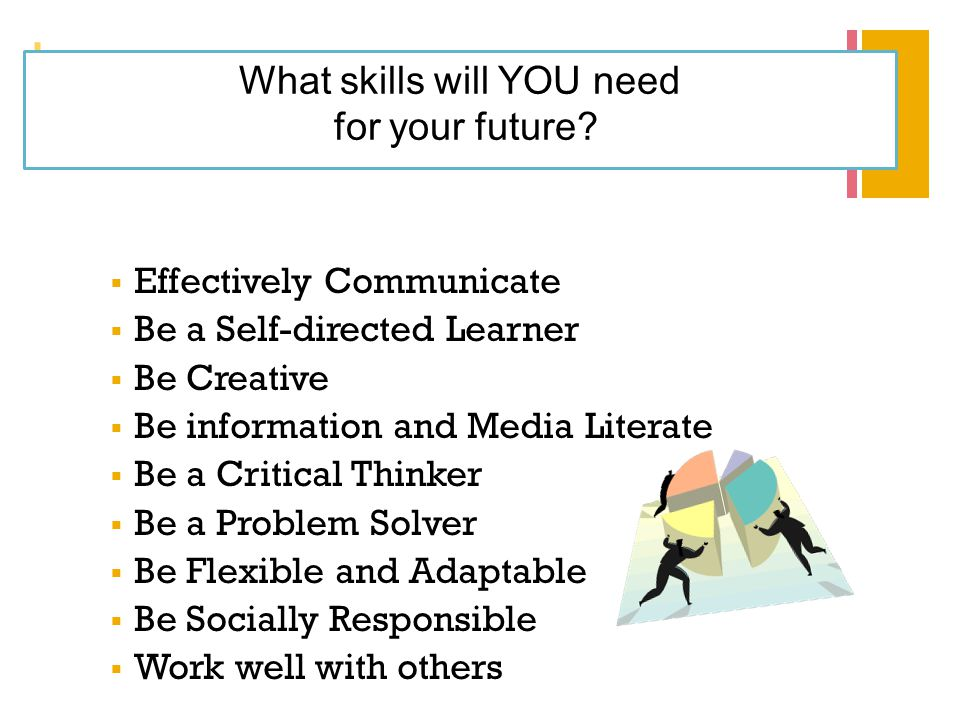 + What skills will YOU need for your future?  Effectively Communicate  Be a Self-directed Learner  Be Creative  Be information and Media Literate