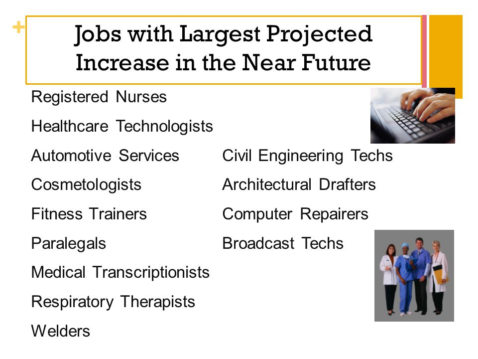 + Jobs with Largest Projected Increase in the Near Future Registered Nurses Healthcare Technologists Automotive ServicesCivil Engineering Techs Cosmet